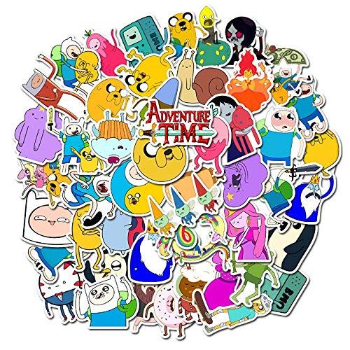 PMSMT 50 Piezas Paquete de Dibujos Animados Adventure Time Stickers Impermeable PVC Guitarra portátil Motocicleta monopatín Equipaje Coche Fresco Pegatina niños Juguetes