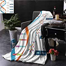 Luoiaax Educational Commercial Grade Printed Blanket DNA Bases Chemistry Biochemistry Biotechnology Science Spiral Symbol Genetic Queen King W55 by L55 Inch Multicolor