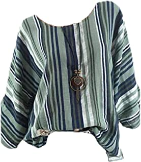 OTW Women's Round Neck Casual Blouse Loose Fit Long Sleeve Striped Tee Shirts Top