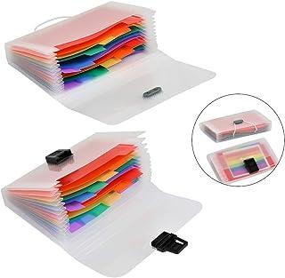 YOTINO 4 Stück Fächermappe A6 Akkordeon Ordner 13 Fächer Plastik Dokumenten Organizer Regenbogenfarben Tragbar Rainbow Dokumentenmappe Sortierordner Sortiermappe