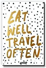 Seven Rays Wooden Eat Well Travel Often Fridge/Multipurpose Magnet (Multicolour, Rectangle 3 x 4.5 Inches)