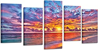 Kreative Arts - 5 Pieces Modern Canvas Painting Wall Art Colorful Sunset Over Ocean on Maldives Seascape Picture Print On Canvas Giclee Artwork for Wall Decor (Large Size: L 60'' x H 32'')