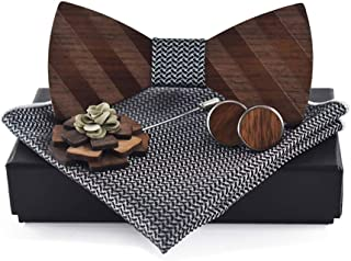 Pre-Tied Wood Bow Ties Set for Men Big Boys with Matching Pocket Square Cufflinks Lapel Flower Brooch Set Gift Box