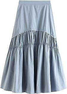 ZJMIYJ Kjolar för kvinnor - Midjade veckade A-linjekjolar enfärgade midikjol hög midja rygg elastisk vår kvinnors eleganta...