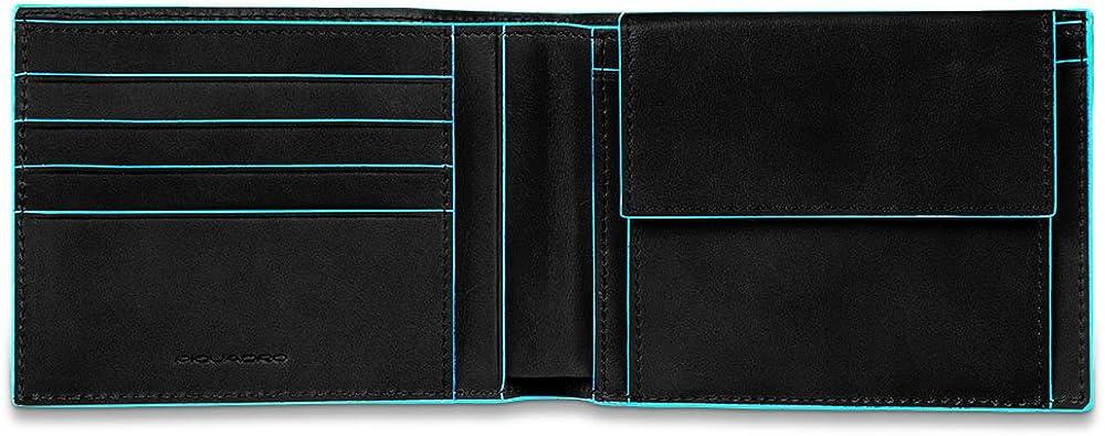 Piquadro blue square, portamonete, portafoglio per uomo, in pelle, nero PU257B2R/N