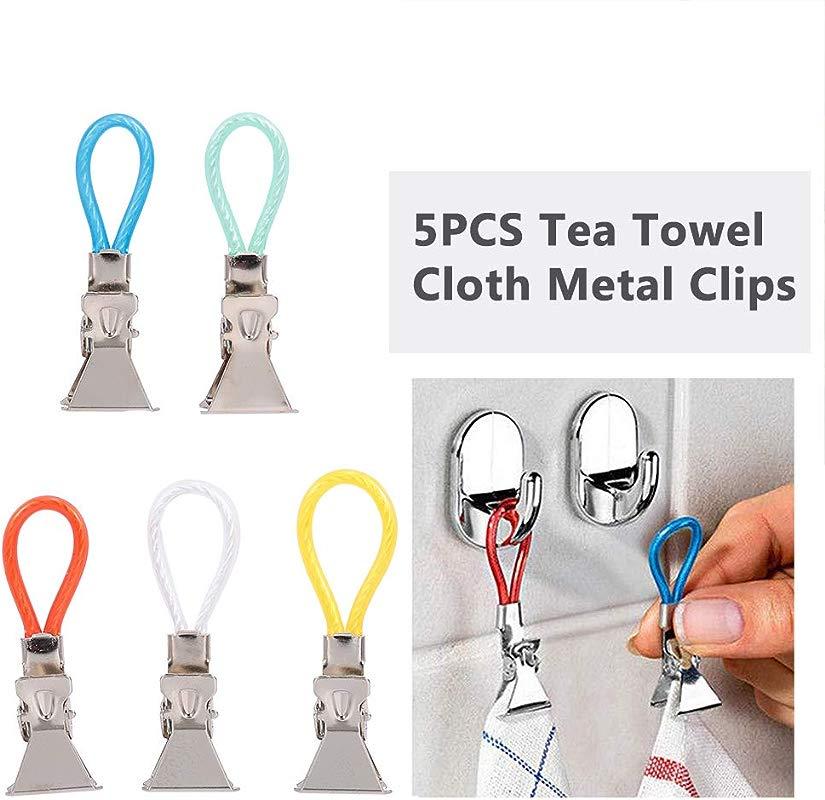 Walmeck 5PCS Tea Towel Clips Cloth Hanging Metal Clips Hand Towel For Kitchen Bathroom Afternoon Tea Oven Mitt Kids Pet