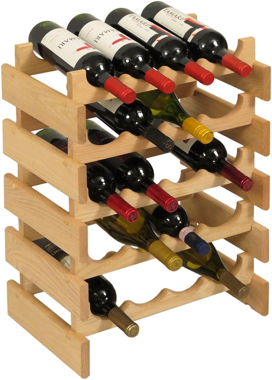 Wooden Mallet 21-Bottle Dakota Wine Rack 20 Bottle Unfinished
