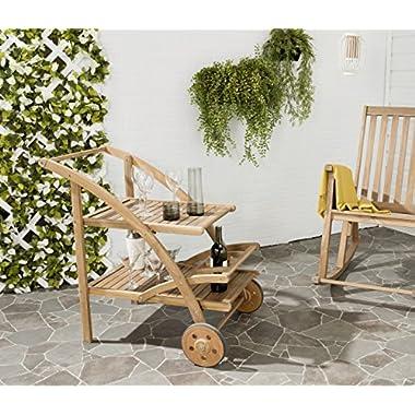 Safavieh Outdoor Living Collection Lodi Tea Cart, Teak Brown