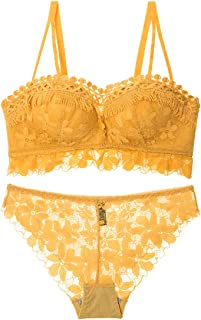 2c856188f34a Perfect Home Lace Embroidered Pattern Comfortably Gathered Sexy Bra Set,  Sponge, no Steel Ring
