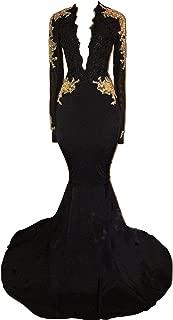 Women's Long Sleeves Prom Dress Gold Appliques Mermaid Evening Dress