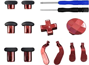 12 in 1 Metal Replacement Thumbsticks, D-Pads, Paddles with Tools for Xbox One Elite Controller - Red