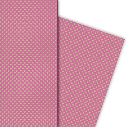 Kartenkaufrausch romantisch met kleine hartjes cadeaupapier set voor leuke geschenkverpakking, 4 vellen, 32 x 48 cm decorpapier, patroonpapier om in te pakken, knutselen, scrapbooking groen op roze