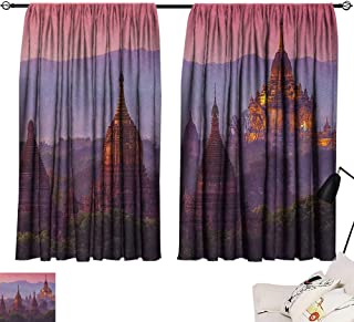 Room Darkening Wide Curtains Asian,Ancient Temple Bagan After Sunset Myanmar Asian Old Architecture Landmarks, Coral Plum Dark Green 54