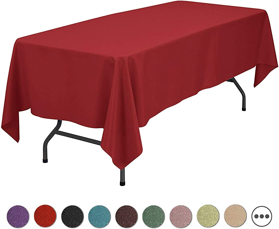 SilkFun Rectangle Tablecloth 60 X 102 Inch Polyester Cloth Fabric Cover In Red Washable Stain Resistant For Wedding Restaurant Party Kitchen And Dining Room