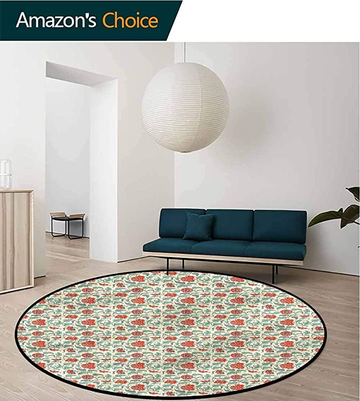 RUGSMAT Asian Round Area Rugs Eastern Inspired Flowers Perfect For Any Room Floor Carpet Diameter 24