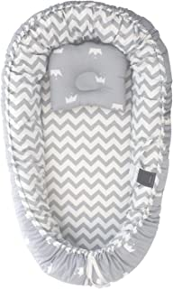 Chaukoko Baby™ Nest Set with Pillow - Co-Sleeping Lounger for New-Born to 8 Months - Easy Care Double Sided Grey Zig Zag /...