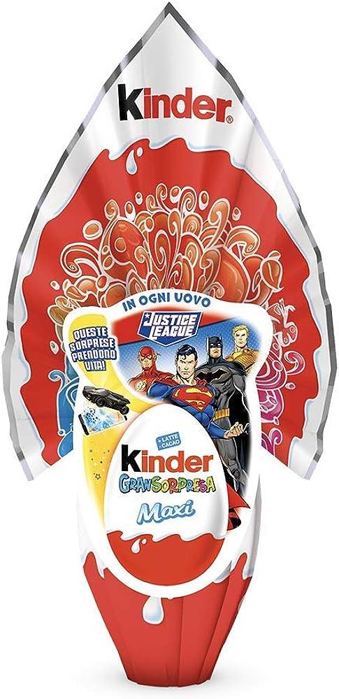 Kinder, gransorpresa justice league 220 g,uovo di pasqua al latte