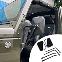 LZTQ Shake-Proof Quick Install Adventure Mirrors for Jeep Wrangler JK JKU JL JLU LJ TJ CJ-5 CJ-7 CJ-8 CJ-10 High-definition Rearview Mirror Off-Door Side-View Hinge Mirrors Doorless Rect
