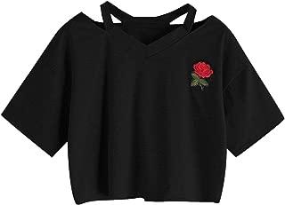 SweatyRocks Women's Embroidered Crop Top Short Sleeve T Shirt
