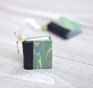 Handmade Miniature Book Earrings in Aqua, Teal, and Navy Blue