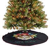 Falda para árbol de Navidad hispano Holiday La Calavera de la Catrina inspirada en el peinado y maquillaje tradicional alfombra para el árbol de Navidad para fiestas navideñas, multicolor, 122 cm