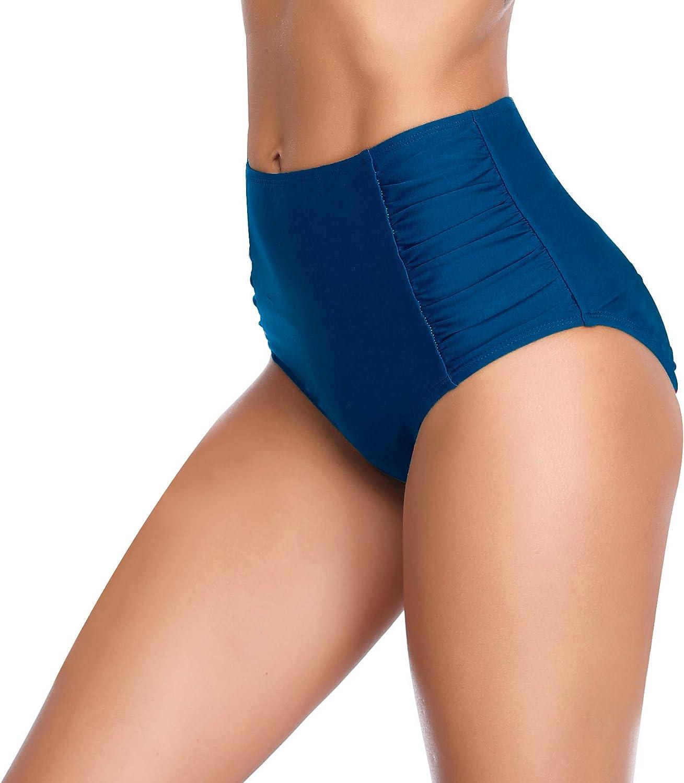 SHEKINI Women's Retro High Waisted Bikini Bottom Ruched Side Swim Short Tankinis
