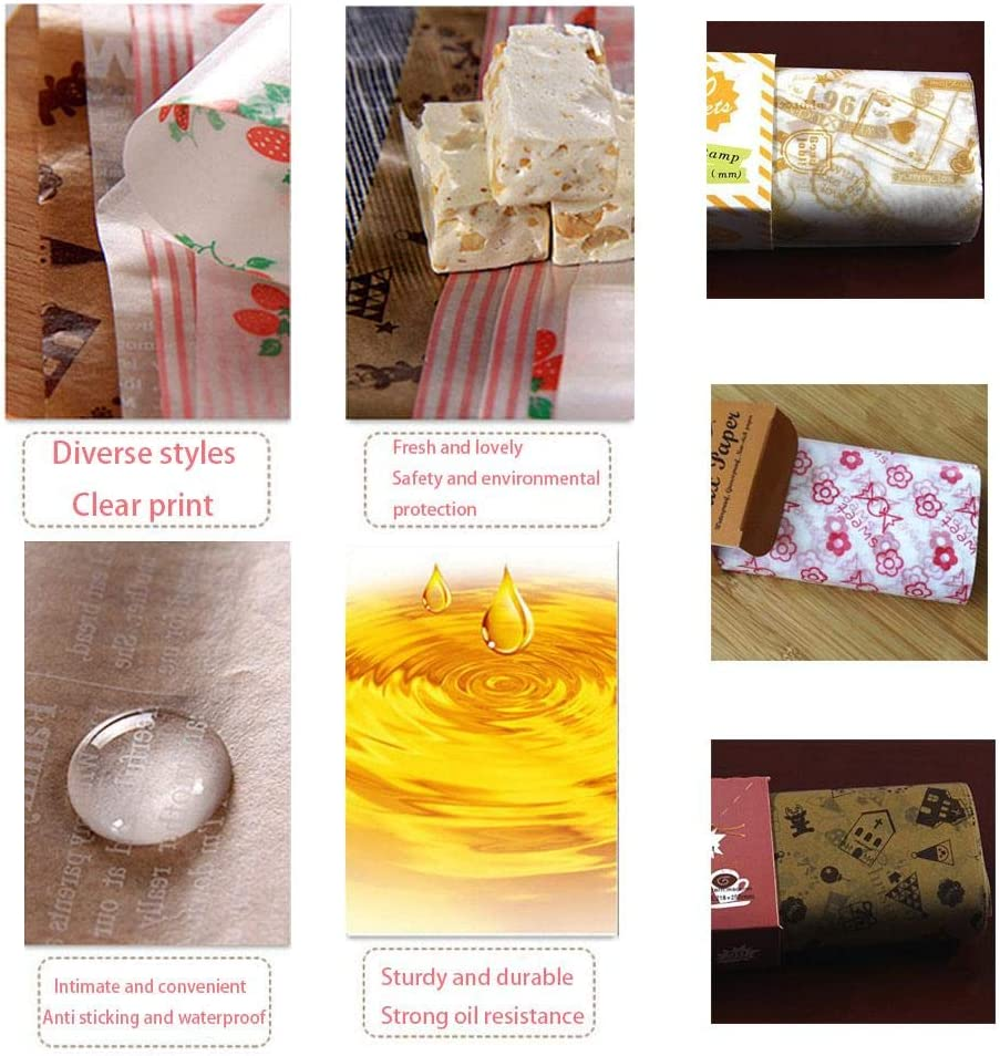 CALISTOUS 50Pcs Wax Paper Disposable Waterproof Greaseproof Paper Picnic Paper Wrapping Tissue for Bread Sandwich Burger 3#