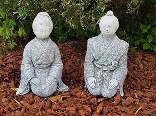 Schöne Steinfiguren handbemalt Geisha Samurai japanische Deko für außen Zen-Garten Terassen Gartenfiguren frostfest