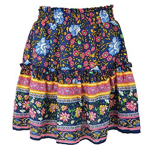 HRSD Faldas Cortas Volantes Básica Plisada Mujer Casual Mini Bohemio Estampado Elástica Multifuncional Corto Falda Playa Vacaciones,Armada,L
