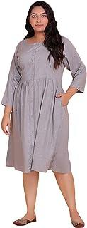 Lastinch Women's Plus Size Grey Shirt Dress