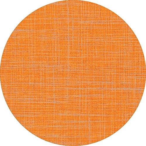 DecoHomeTextil d-c-fix Wachstuch Leinen Look RUND OVAL Farbe & Größe wählbar Rund 110 cm Orange abwaschbare Tischdecke