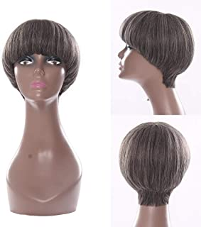 RemeeHi Short Straight Human Hair Wig None Lace Full Head Wig With Bangs For Women