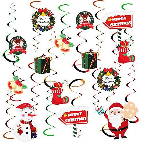 32 Pezzi Decorazioni Natalizie appese,Decorazione a turbinio a soffitto Calze di Babbo Natale Pupazzo di Neve Confezione Regalo Campana per Decorazioni Natalizie