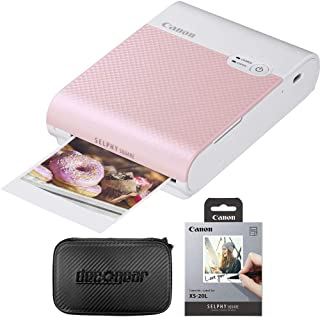 Canon SELPHY Square QX10 Compact Photo Printer - Pink (4109C002) Bundle with Canon SELPHY Color Ink/Label XS-20L Set + Dec...