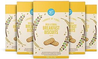 Marca Amazon - Happy Belly - Galletas de leche y cereales para el desayuno, 5x300g