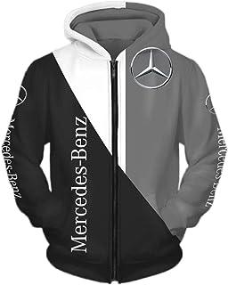 Felpa con Cappuccio con Stampa 3D / Felpa con Zip Maglia da Tifoso Sciolto, Giacca con Cappuccio da Uomo per Mercedes-Benz...