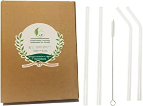 Clear Glass Drinking Straws 9 inch, 2 Straight Crystal Straw + 2 Flexible Glass Straw + 1 Straw Cleaner Pack in Paper Box