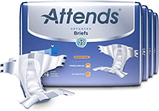Attends Advanced Briefs with Advanced Dry-Lock Technology for Adult Incontinence Care, Medium, Unisex, 24 Count (Pack of 4)