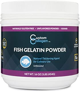 Fish Gelatin Powder - 1 lb (16oz) - Unflavored, Kosher, Pure, Marine Sourced - For Culinary Use, Gummy Candy, Jello Shots and More