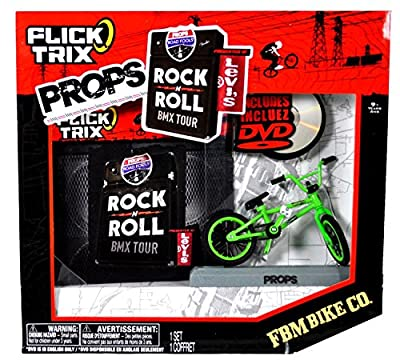 """Spinmaster Flick Trix Fingerbike """"Real Bikes, Unreal Tricks"""" BMX Bicycle Miniature Set - Green Color FBM BIKE CO. with Display Base and DVD Props """"Rock N Roll BMX Tour by Levis"""""""
