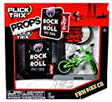 Spinmaster Flick Trix Fingerbike 'Real Bikes, Unreal Tricks' BMX Bicycle Miniature Set - Green Color FBM BIKE CO. with Display Base and DVD Props 'Rock N Roll BMX Tour by Levis'