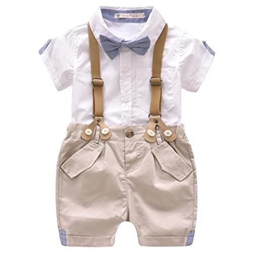 76e38f1c9d3 Baby Boys Cotton Gentleman Outfits Bowtie Short Sleeve Shirt+Bib Shorts Overalls  Clothes Set