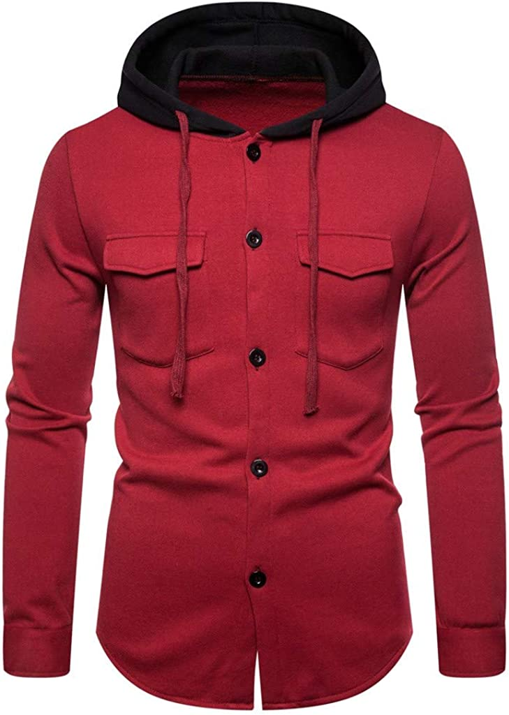 HONGJ Button Down Hoodies for Mens, Fall Long Sleeve Hooded Sweatshirts Drawstring Workout Casual Outwear with Pockets