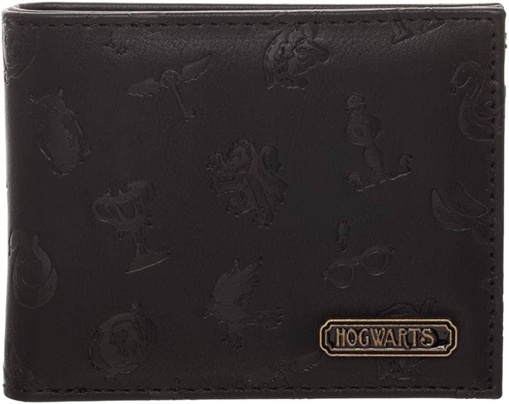 Harry Potter Hogwarts House Stamped Logos Faux Leather Bifold Wallet