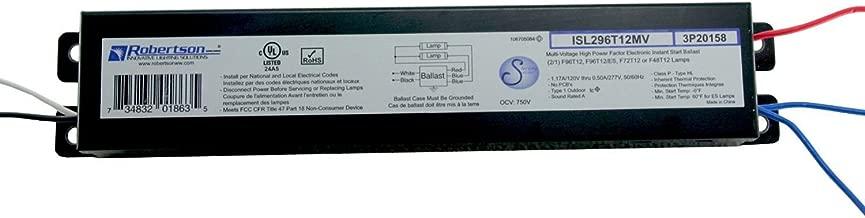 ROBERTSON 3P20158 ISL296T12MV Fluorescent Electronic Ballast for 2 F96T12 Linear Lamps, Instant Start, 120-277Vac, 50-60Hz, Normal Ballast Factor, HPF