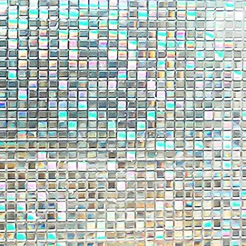 Housolution 3D Fensterfolien, No-Kleber statische Dekor Privatsphäre PVC Fensterfolien nicht-klebende Mattglas Aufkleber Hitzesteuerung Anti-UV-Schutzhülle für Home Decor, kleine Mosaik (79 x 18 Zoll)