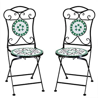 Deuba Set de 2 Sillas Mosaico »Flora« Asiento de cerámica Plegables 36x45x94cm para balcón jardín terraza Patio