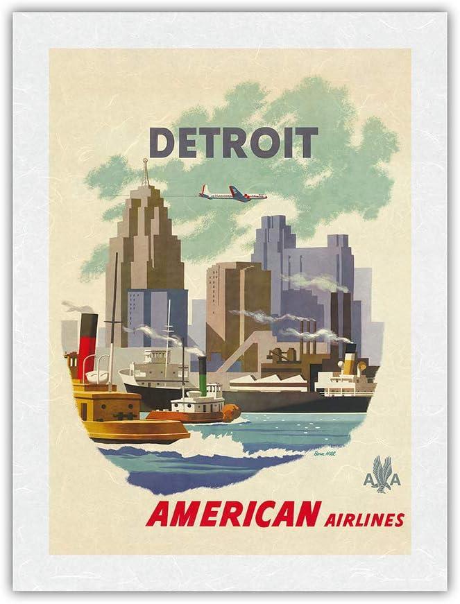 Detroit Michigan - 人気の製品 American 定番スタイル Vintage Skyline Airlines