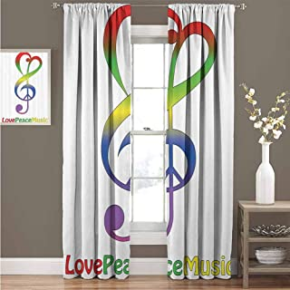 EDZEL Decor Curtains, Sunshade Windshield, 1960s Decorations Collection, Love Peace and Music Clef Musical Notes Bass Old Sign Slogan Live Feeling Celebration Image, 108