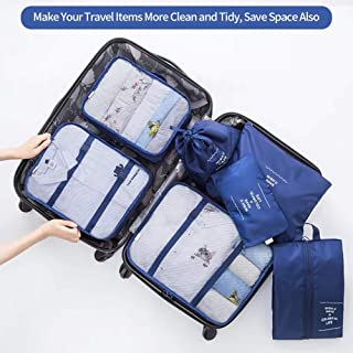 7 Pcs Travel Luggage Packing Organizers Durable Packing Cubes with Laundry Bag and Shoe Bags